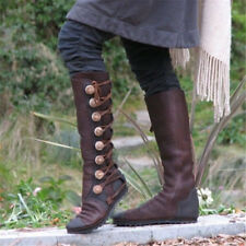 Retro Knight Long Boots Women Winter Metal Button Bandage Lace-up Combat Shoes T