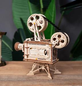 3D DIY Wooden Model Building Kit Retro Vintage Hand Crank Film Projector Gift