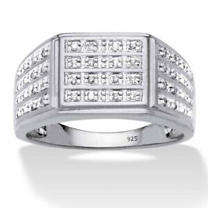 Men's 1/6 TCW Platinum over .925 Sterling Silver Diamond Ring