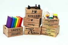 Vintage Crate Sewing Singer Embroidery Cottons Scissors Dolls House Miniature