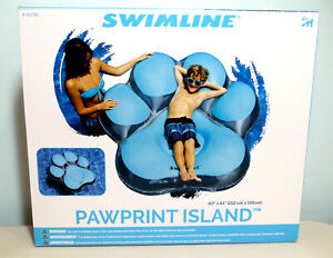 """SWIMLINE ~ PAWPRINT ISLAND INFLATABLE POOL FLOAT ~ 60"""" X 61"""" ~ ALL AGES ~ NEW"""