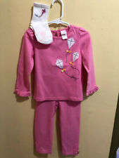 Janie and Jack Classic Garden Pink Kite Top Leggings And Socks Size 3 Euc