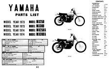 1973 1974 Yamaha MX250 MX360 MX250A MX360A Motorcycle Parts List Manual Guide
