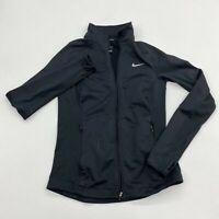 Nike Dri-Fit Track Jacket Womens S Black Full Zip Mock Neck Insulated Zip Pocket