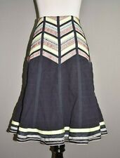 NANETTE LEPORE $128 Navy Embroidered Knee Length Full Skirt Size 6