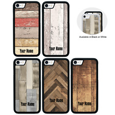 Wood Effect Personalised Case for Apple iPhone 5 5s SE 6 6s 7 8 PLUS X XR XS Max