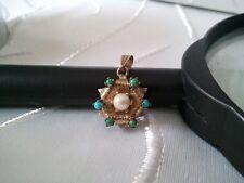 ▄▀▄ feiner Goldanhänger Blütenform mit Perle+Türkisen ▀ 1,7cm, echt Gold 333 ▄▀▄