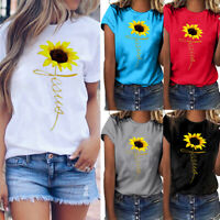 Women Plus Size O-Neck Sunflower Print Short Sleeve T-shirt Blouse Tops Pullover