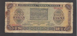 1000 KUNA VG BANKNOTE FROM NAZI GOVERNMENT OF CROATIA 1943 PICK-12