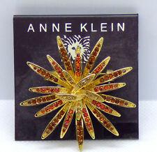 Tone Light & Dark Topaz Brooch Pin 🎇 New on Card Anne Klein Gold