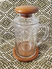 New listing Vintage Vtg Mcm Baker Hart & Stuart Glass Pitcher Ice Insert Teak Lid & Base Euc