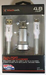 BlackWeb Silver Dual Port USB Car Charger 4.8 AMP 3Ft 10GPS Super Speed Samsung