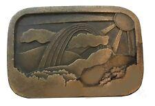 Vtg Rainbow Belt buckle Sunset Clouds Nautical Tree Ocean Sunrise Pot of Gold