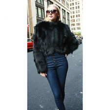 New Women Luxury Real Vulpes Fox Fur Coat O-Neck Thick Warm Outwear Short Style
