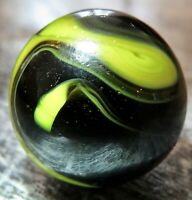"""Christensen Agate CAC Opaque Swirl  .61"""" Wet Mint Marble Black Yellow #289"""