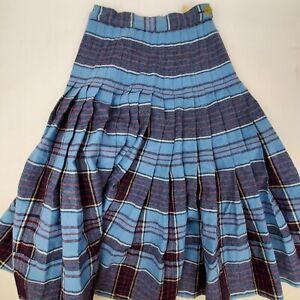 Vintage 1950 Womens Blue Wool Pendleton Turnabout Reversible Pleated Skirt