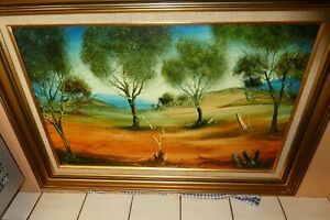 Original Pro Hart Oil Painting - Landscape - With Certificate Of Authenticity