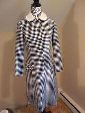 Vintage 80s 90s Rona New York Gingham peter pan collar Secretary coat dress 36 m