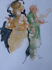 Beau Dessin humoristique /aquarelle-L'obésité-signé Forday-cadre-Drawing