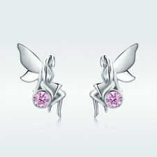 European Real Silver Earring Fairy Girl Pink CZ Stud Earring for Women Christmas
