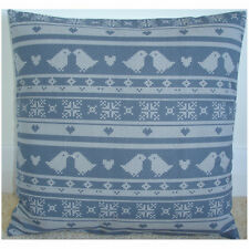 "NEW 16"" Cushion Cover Grey and Cream Nordic Birds Hearts Scandinavian Design"