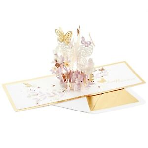 Hallmark Thinking of You Signature Card ~ Pop UP Explosion Pastel Butterflies