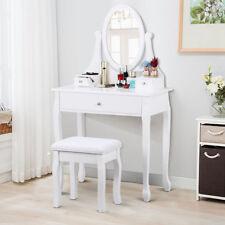 Schminktisch Frisiertisch Kosmetiktisch mit Hocker & Spiegel Frisierkommode weiß