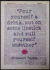 Vintage Elizabeth Taylor Lipstick Quote Wall Art Print Picture Dictionary Page