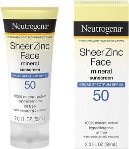 Neutrogena Sheer Zinc Face Mineral Sunscreen Broad Spectrum SPF 50 2 FL. Oz.