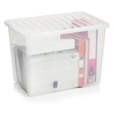 80 LITRE PLASTIC STORAGE BOXES LARGE- MULTIPLE PACKS - BLACK/CLEAR LIDS! CHEAP!
