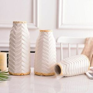 American White Ceramic Embossed Vase Flower Box Home Decoration Bamboo Shape