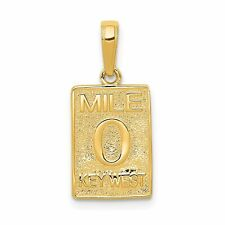 14K Yellow Gold Mile 0 Key West Mile Marker Charm Jewerly 20mm x 10mm
