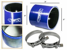 "BLUE Silicone Coupler Hose 3.0"" 76 mm + T-Bolt Clamps Air Intake Intercooler Chy"