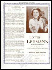 1936 Lotte Lehmann photo opera recital Usa tour trade booking ad