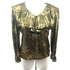 Vintage Gold Lame With Black Roses Ruffled Neck Cuffs Pullover Top SZ Medium