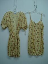USA Made Nancy King Lingerie Chemise & Makeup Jacket Size Sm. Yellow Multi #446N