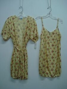 USA Made Nancy King Lingerie Chemise & Makeup Jacket Size 3X Yellow Multi #449N