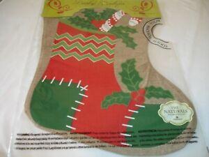 "New! Holiday Christmas Burlap Stocking Small Decorative Garden Flag 12"" x 18"""