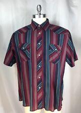 Wrangler Pearl Snap Cowboy Striped Short Sleeve Shirt Men's XXL