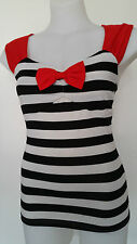 Rockabilly Sweetheart Nautical top Red B/W Sexy Pin-up Vintage size M <<NEW>>