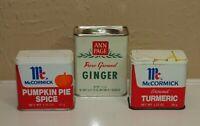 Vtg Lot Metal SPICE TINS McCormick A&P Ann Page * Pumpkin Pie Turmeric Ginger