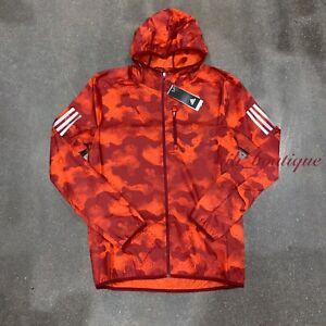 NWT Adidas DW5992 Men Own The Run Camouflage Jacket Zip Orange Red Multi Size XL