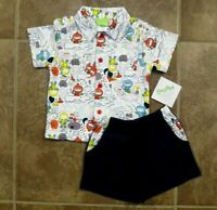 SnoPea Baby Boys 2 Piece Astronaut Knit Shorts Outfit SIze 6 9 Months Set Lot