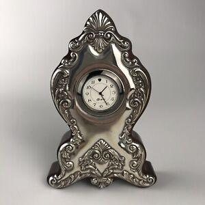 "BRIGHTON 6"" Desk Table Shelf Clock - Wood & Silver #HK100"