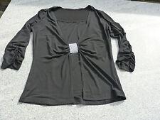 Shirt 2 in 1 Top und Jäckchen Zierpasse mit Strass-Steinchen schwarz Gr. 38