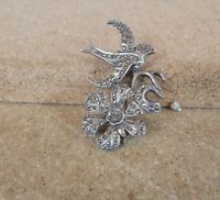 Art Deco Silver & Marcasite Swallow Bird  and Flower Brooch