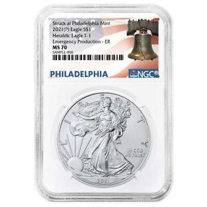 Presale - 2021 (P) $1 American Silver Eagle NGC MS70 Emergency Production ER Lib