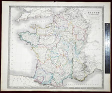 1852 Philip and Son Hand Colored Map of FRANCE in DEPARTMENTS- VLarge- Gorgeous