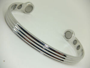 Mens Bio Magnet Silver Colour Magnetic Bangle In Gift Pouch Arthritis Aid Pain
