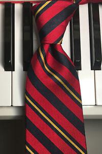 BROOKS BROTHERS /Right Proper Power Tie in Black, Red & Gold Reg Stripe Silk Tie